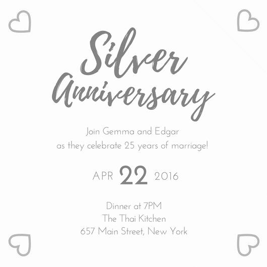 Wedding Anniversary Invitation Template Best Of Silver 25th Wedding Anniversary Invitation Templates by