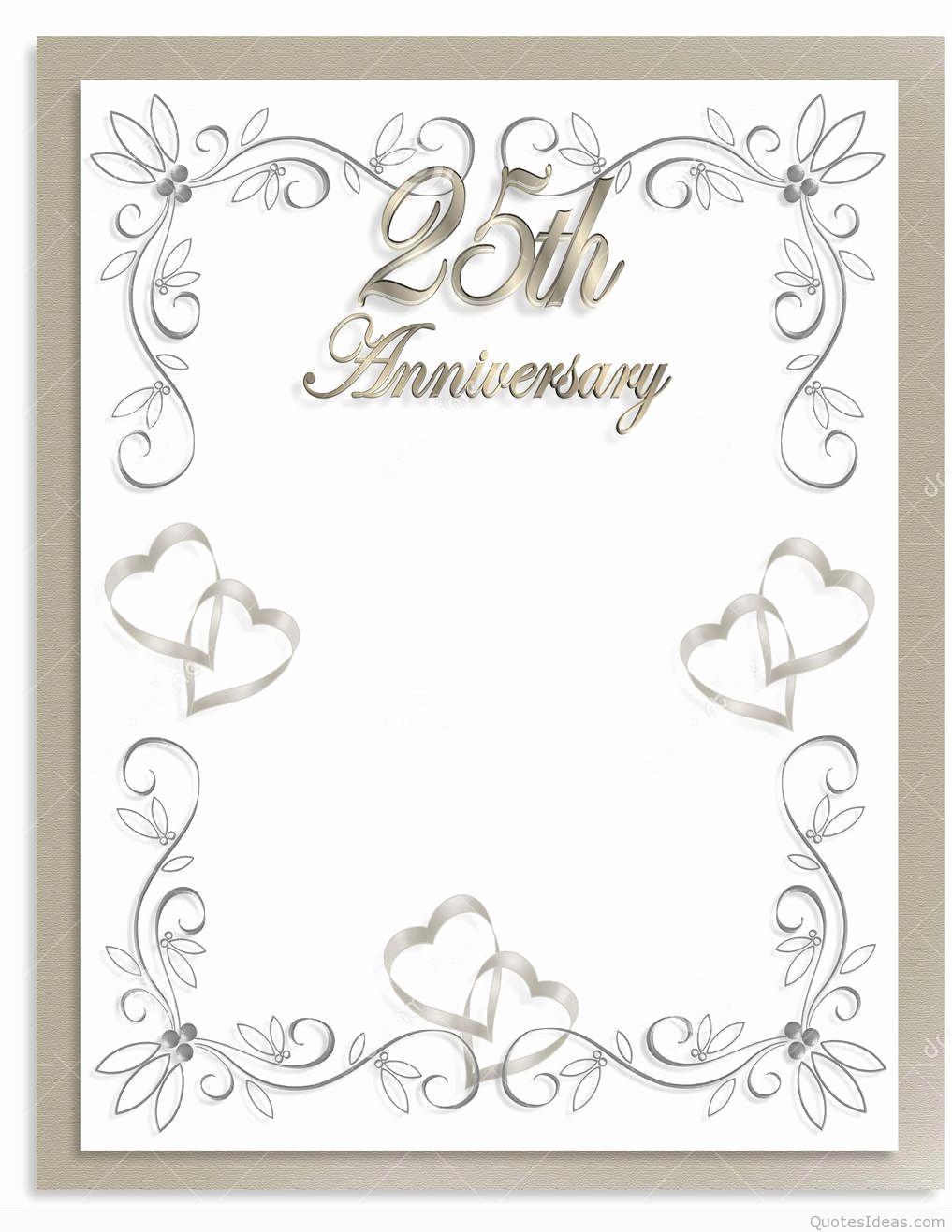 Wedding Anniversary Invitation Template Inspirational Free Silver Wedding Anniversary Invitations Templates