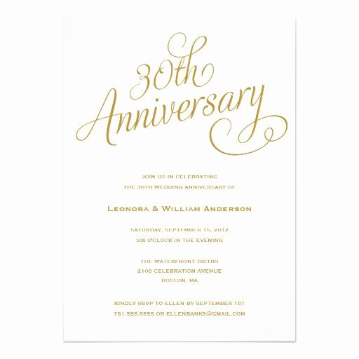 Wedding Anniversary Invitation Template Inspirational Personalized 30th Anniversary Invitations