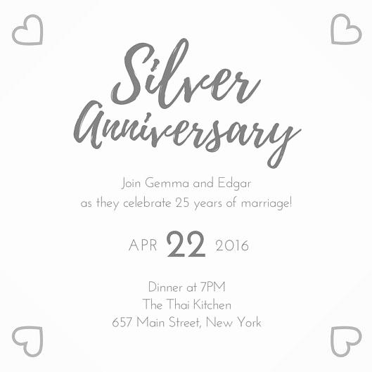 Wedding Anniversary Invitation Template Luxury Silver 25th Wedding Anniversary Invitation Templates by