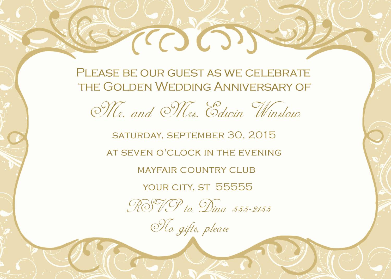 Wedding Anniversary Invitation Template New 50th Wedding Anniversary Invitation
