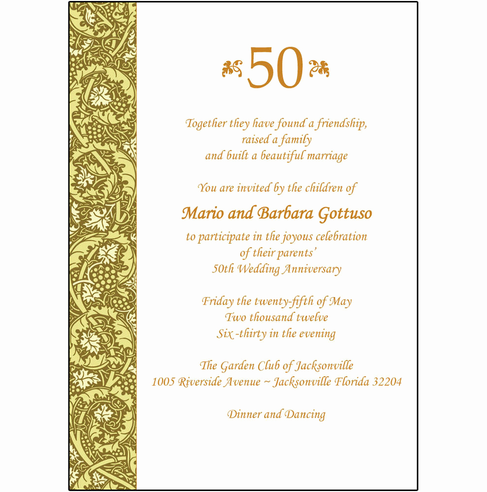 Wedding Anniversary Invitation Wording Awesome 25 Personalized 50th Wedding Anniversary Party Invitations