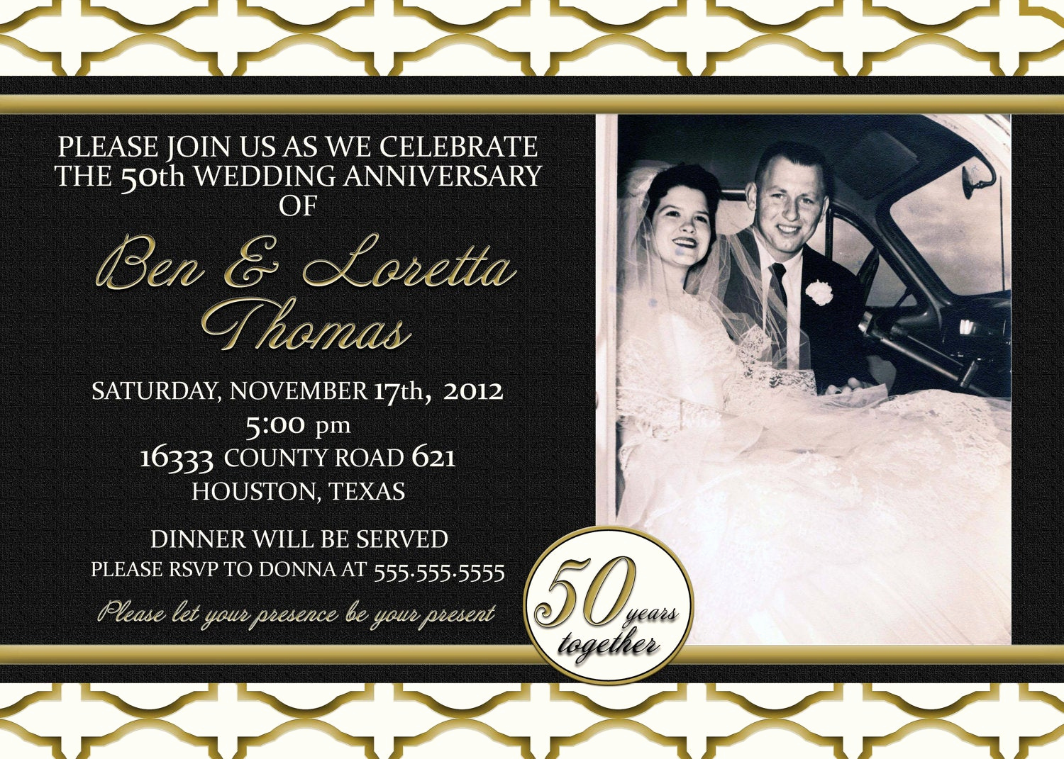 Wedding Anniversary Invitation Wording Awesome Custom Gold Black and Ivory 50th Anniversary Invitation