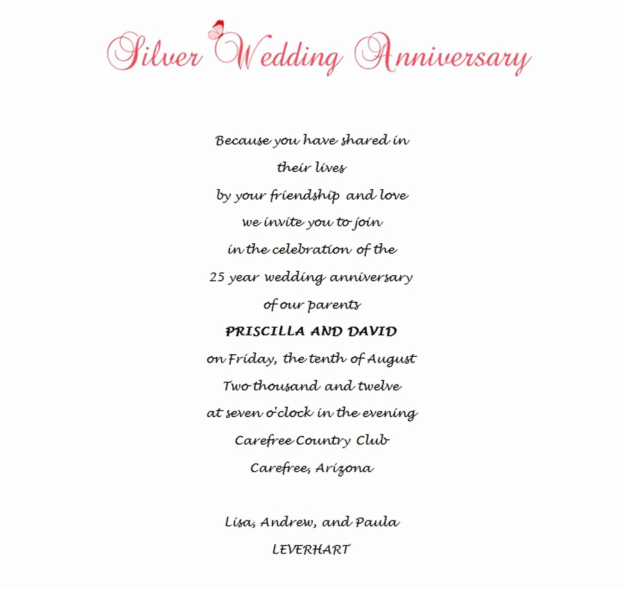 Wedding Anniversary Invitation Wording Awesome Wedding Free Suggested Wording by theme