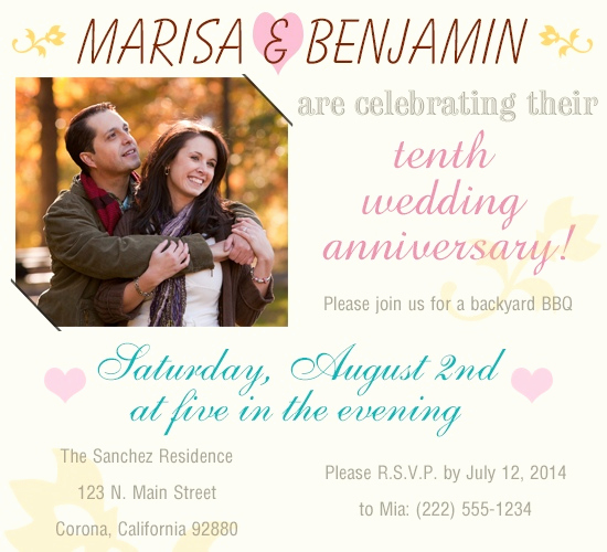 Wedding Anniversary Invitation Wording Beautiful Amazing Party Ideas for Celebrating Your 10th Wedding