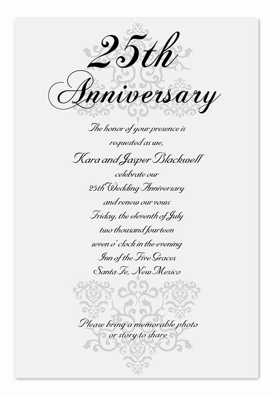 Wedding Anniversary Invitation Wording Luxury Anniversary Invitation Wording