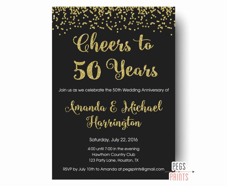 Wedding Anniversary Invitation Wording Luxury Cheers to 50 Years Invitation 50th Anniversary Invitation