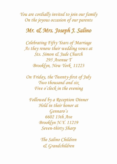 Wedding Anniversary Invitation Wording New 50th Wedding Anniversary Invitation Wording Bine Two