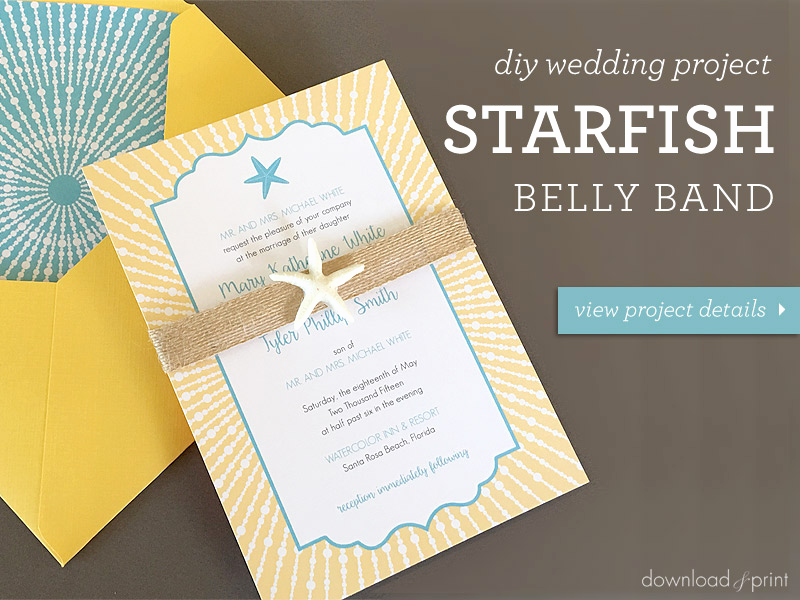 Wedding Invitation Belly Band Template Beautiful Diy Beach Wedding Invitation with Starfish Belly Band