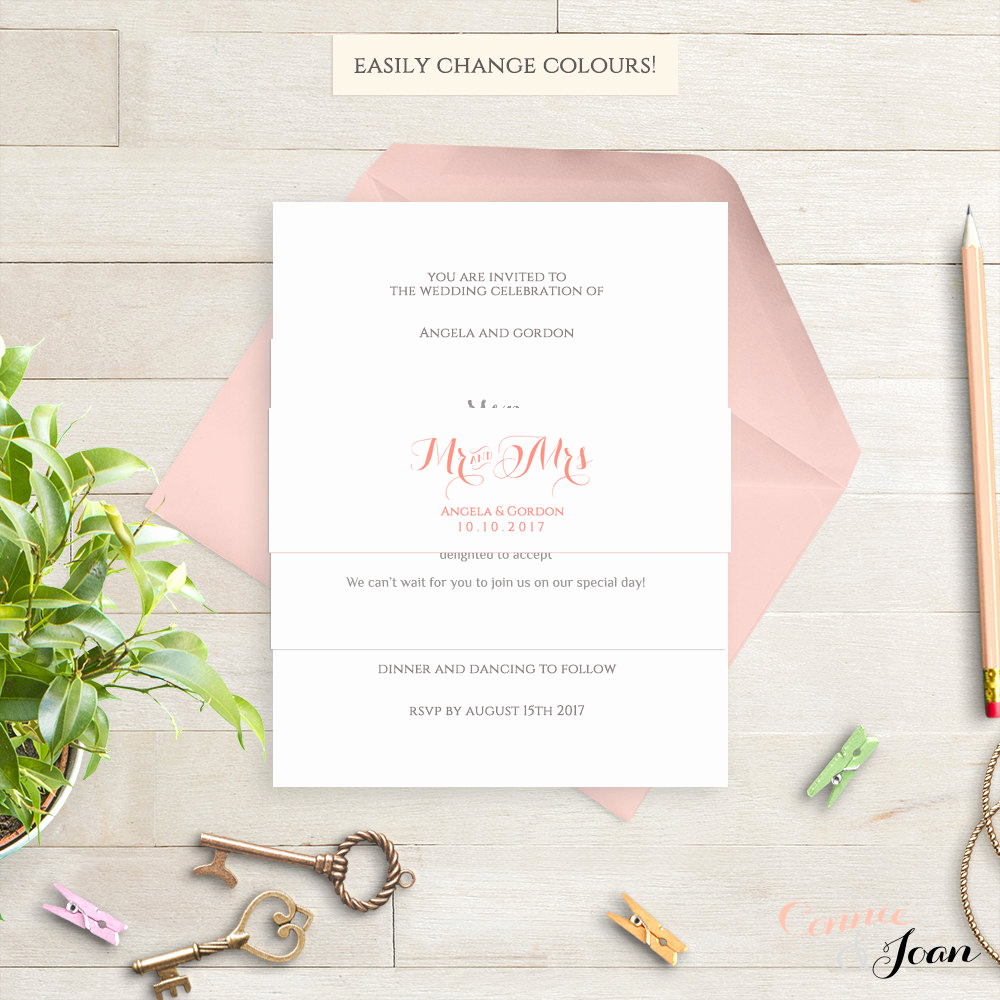Wedding Invitation Belly Band Template Beautiful Invitation Belly Band Printable Template Wedding Belly Band