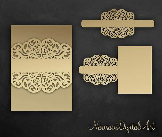 Wedding Invitation Belly Band Template Best Of Belly Band Wedding Invitation Vector File Laser Cut Template