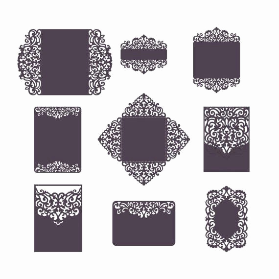 Wedding Invitation Belly Band Template Lovely Set Laser Cut Wedding Invitation Templates Card Envelope
