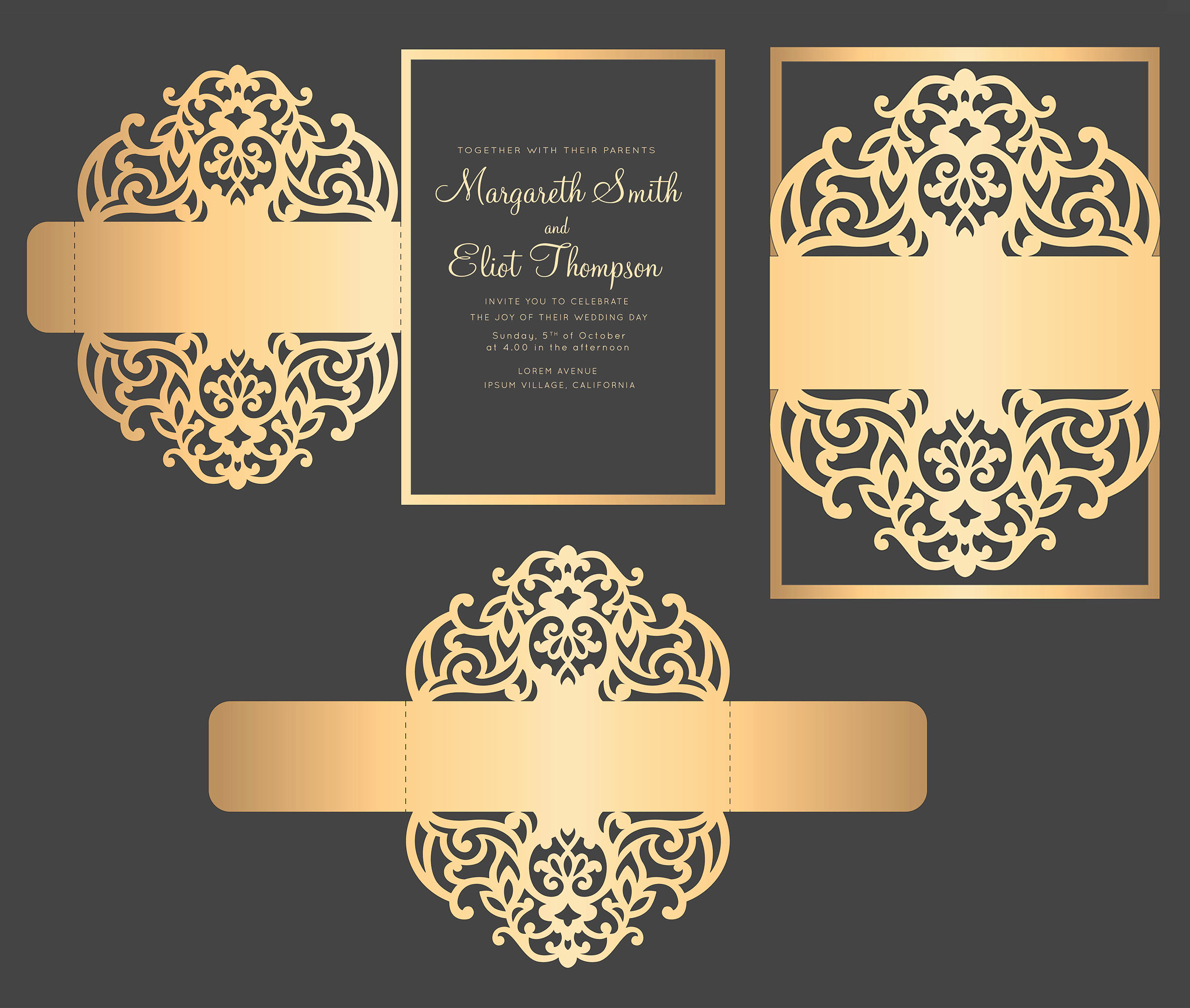 Wedding Invitation Belly Band Template Luxury Svg Dxf Eps Belly Band Wedding Invitation Laser Cut Template