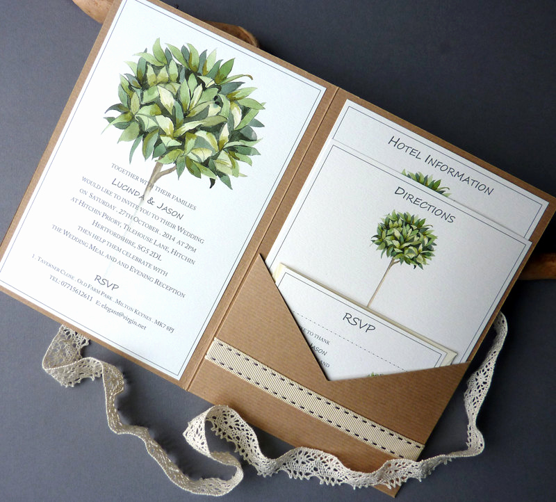 Wedding Invitation Booklet Style Elegant Bay Tree Rustic Pocketfold Wedding Invitation – A5 Booklet