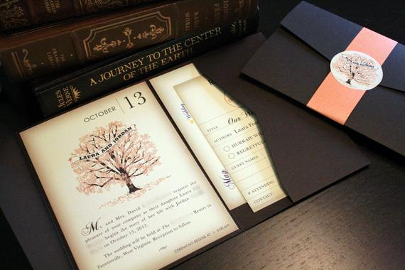 Wedding Invitation Booklet Style Fresh Sample Fall Vintage Book Wedding Invitation by Vohandmade