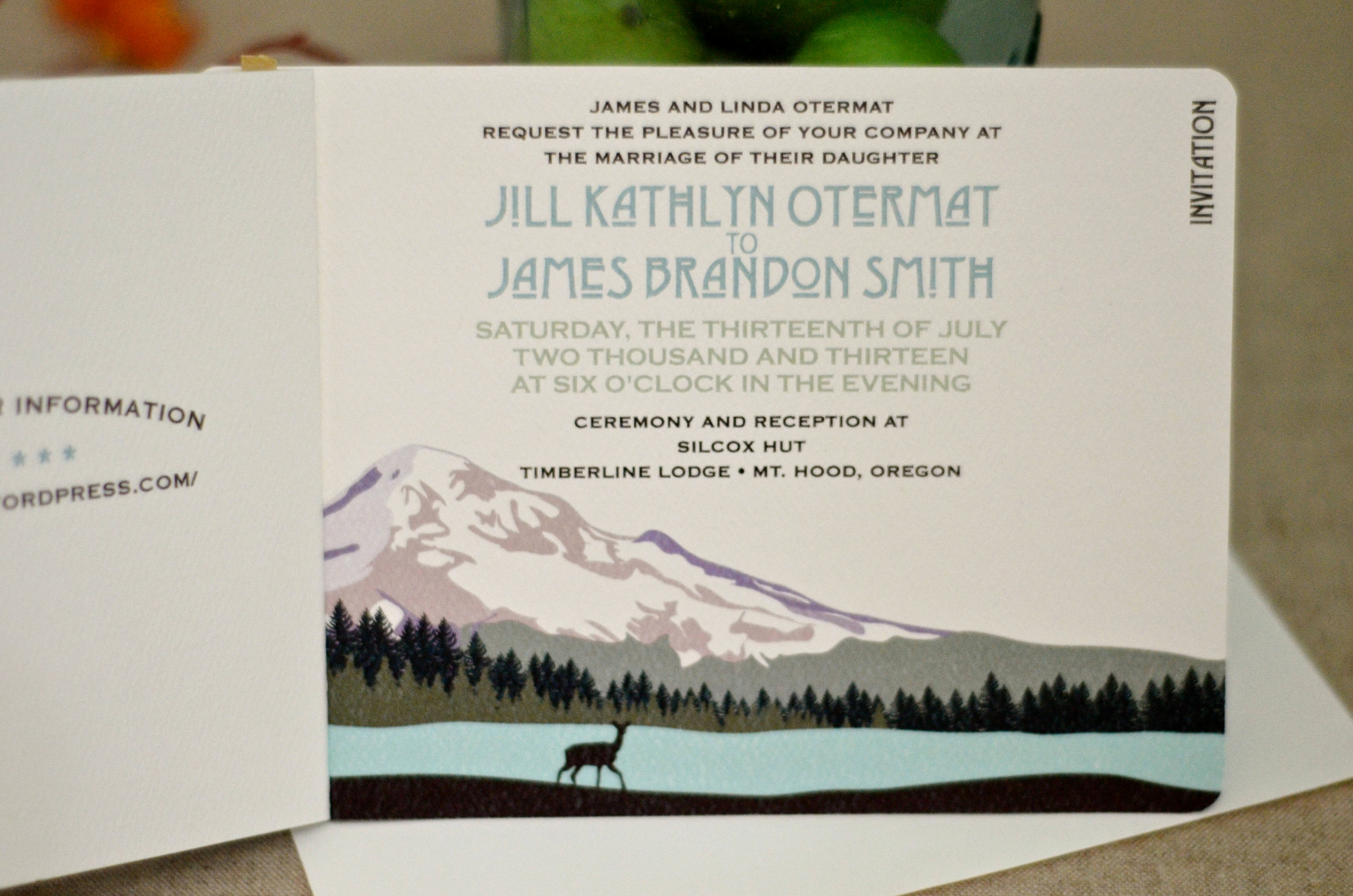 Wedding Invitation Booklet Style Luxury Mt Hood oregon Purple Sunset Landscape 2pg Unique
