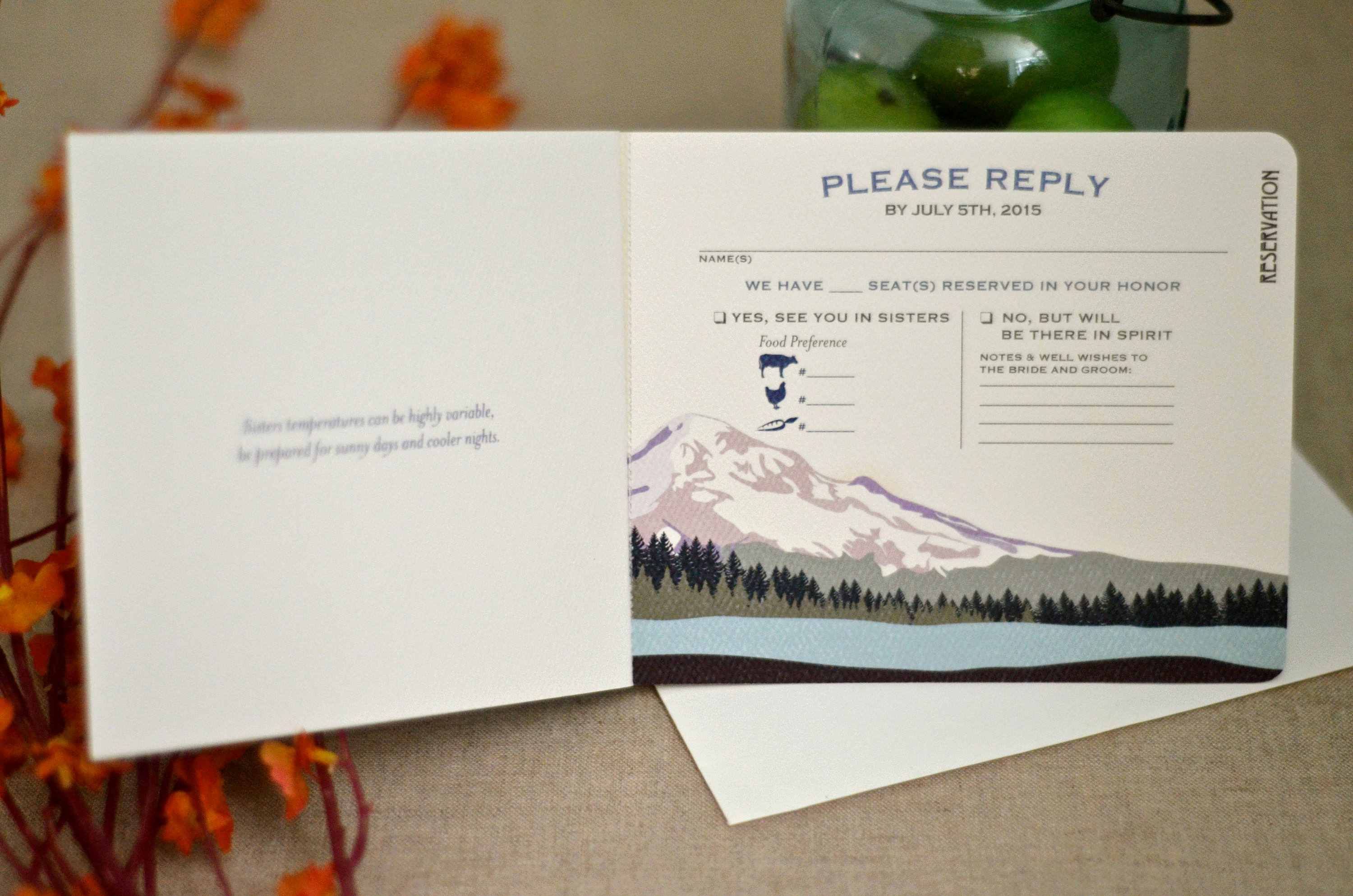 Wedding Invitation Booklet Style Unique Mt Hood oregon Mountain Purple Landscape 3pg Unique