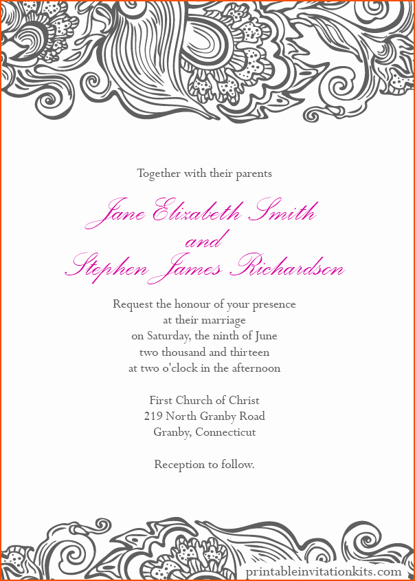 Wedding Invitation Border Design Beautiful 8 Wedding Invitation Template Word Bookletemplate