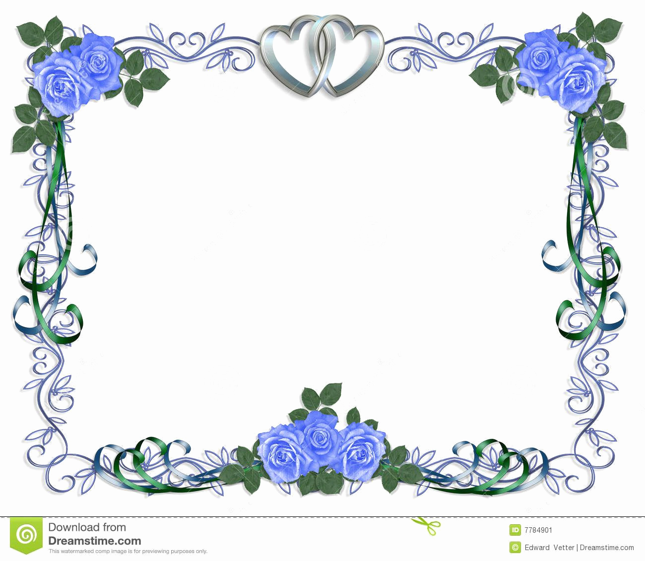 Wedding Invitation Border Design Inspirational Wedding Invitation Blue Roses Border Stock Image Image