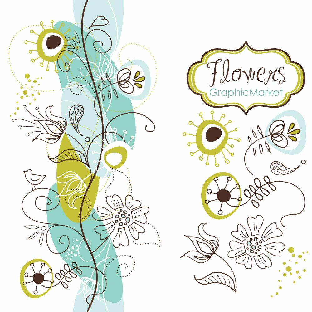 Wedding Invitation Border Designs Elegant 14 Flower Designs and A Floral Border Clipart for
