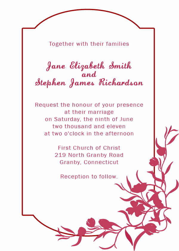 Wedding Invitation Border Designs New Burgundy Floral Border Wedding Invitation ← Wedding