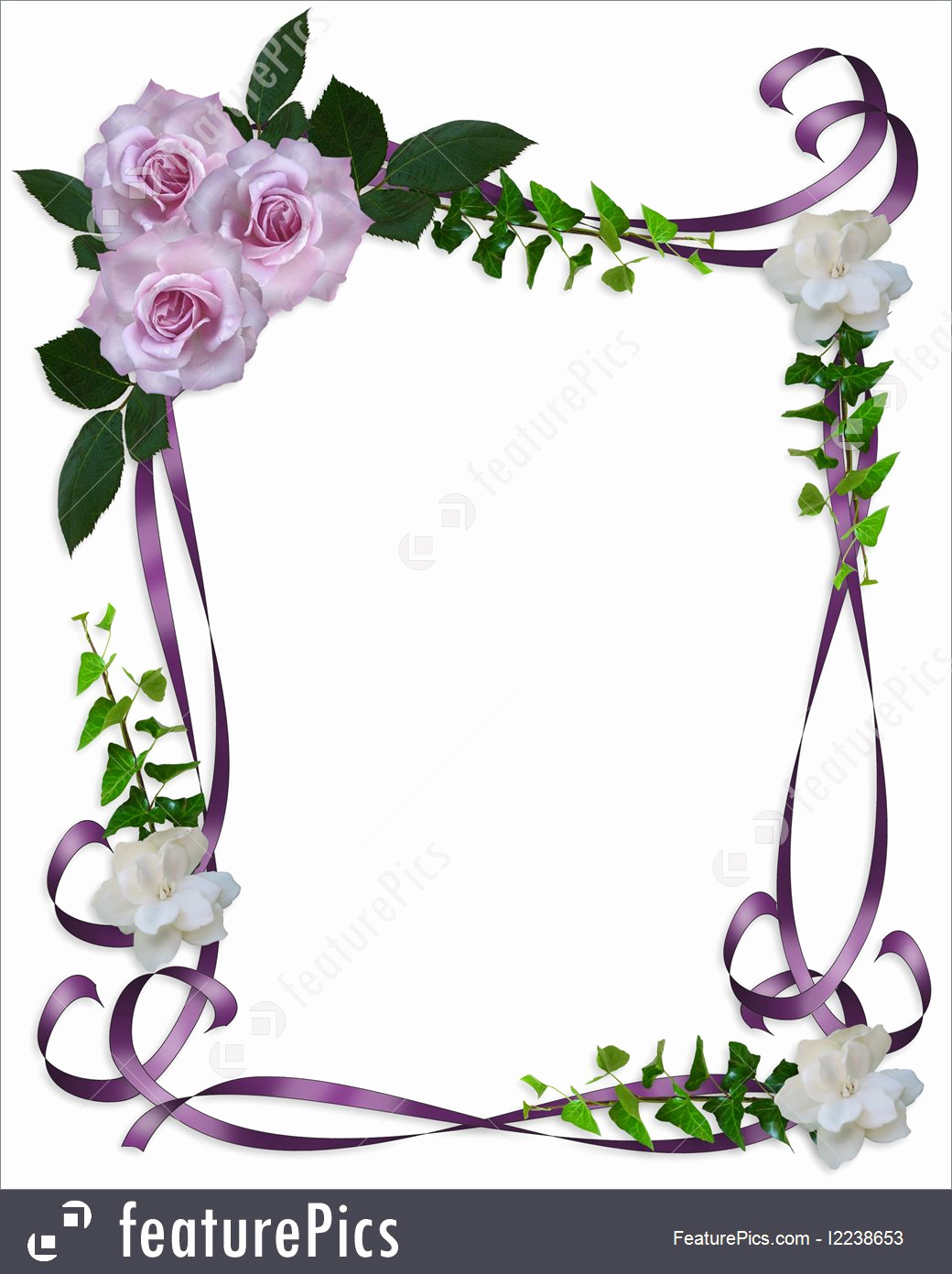 Wedding Invitation Border Designs New Illustration Roses Wedding Invitation Border