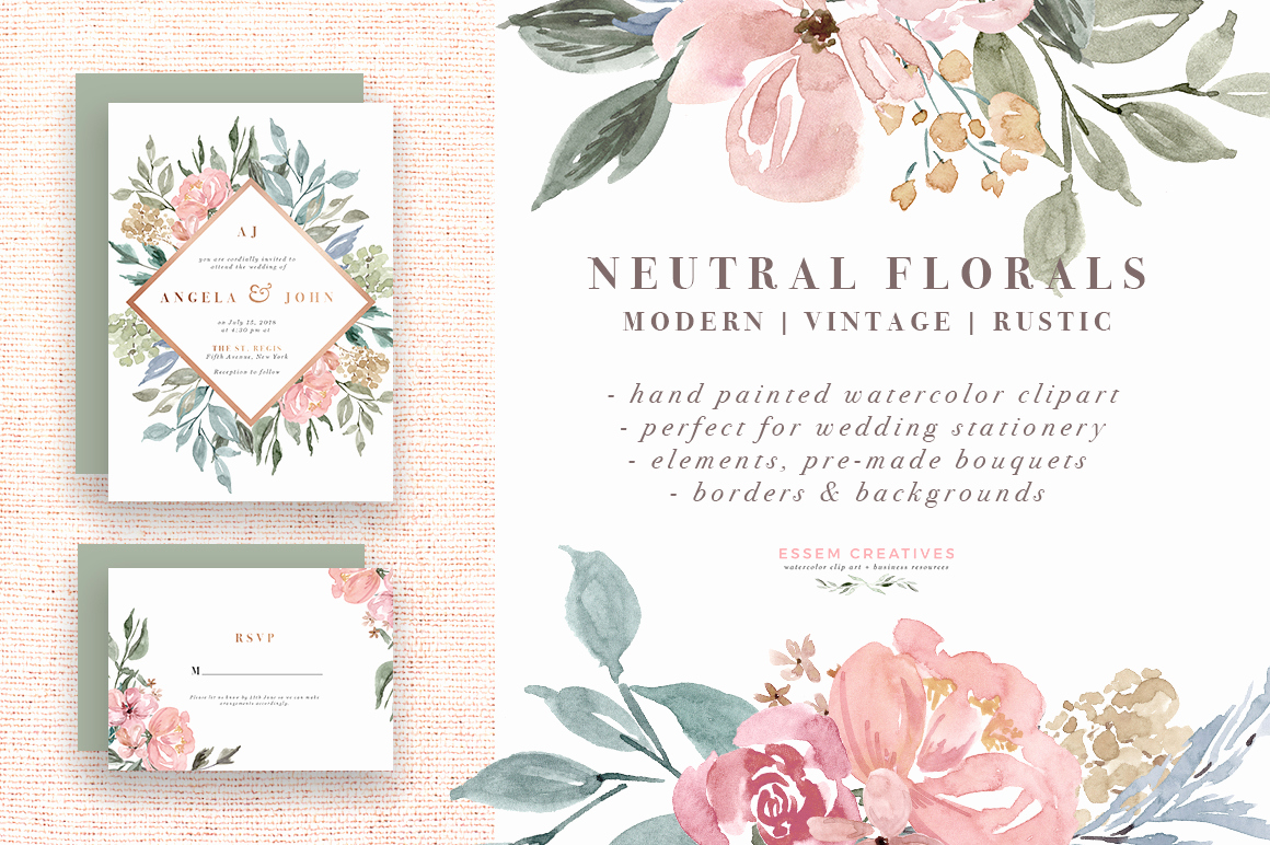Wedding Invitation Borders Design Awesome Neutral Watercolor Flowers Clipart Floral Borders