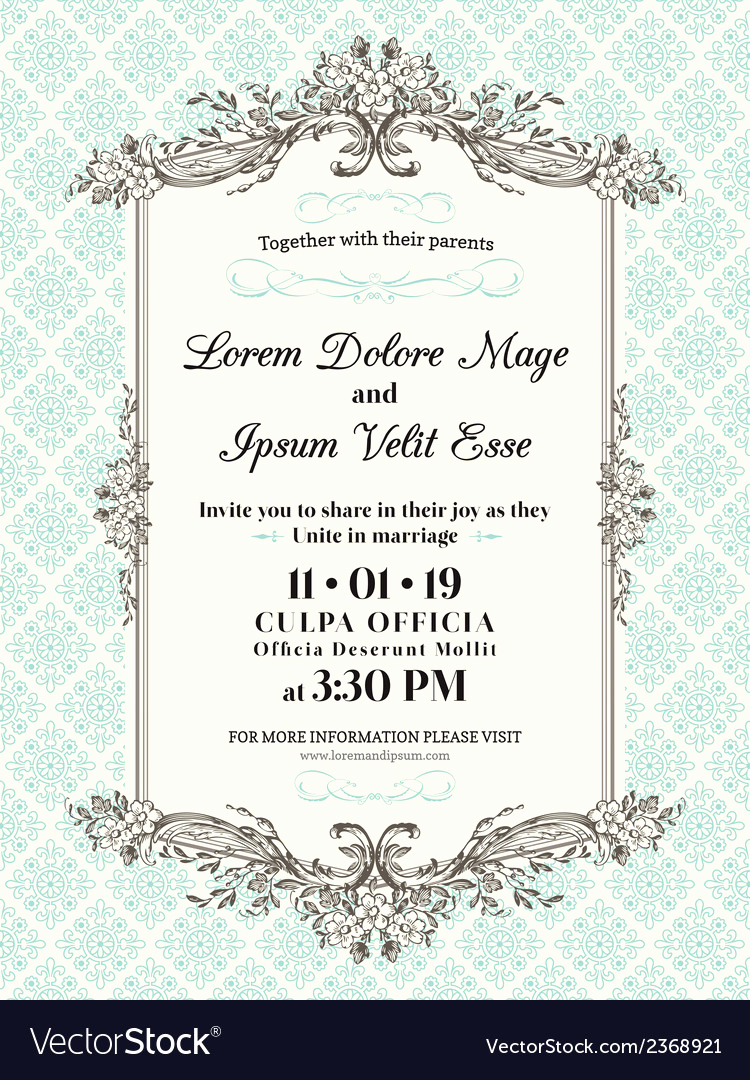 Wedding Invitation Borders Design Awesome Vintage Wedding Invitation Border and Frame Vector Image