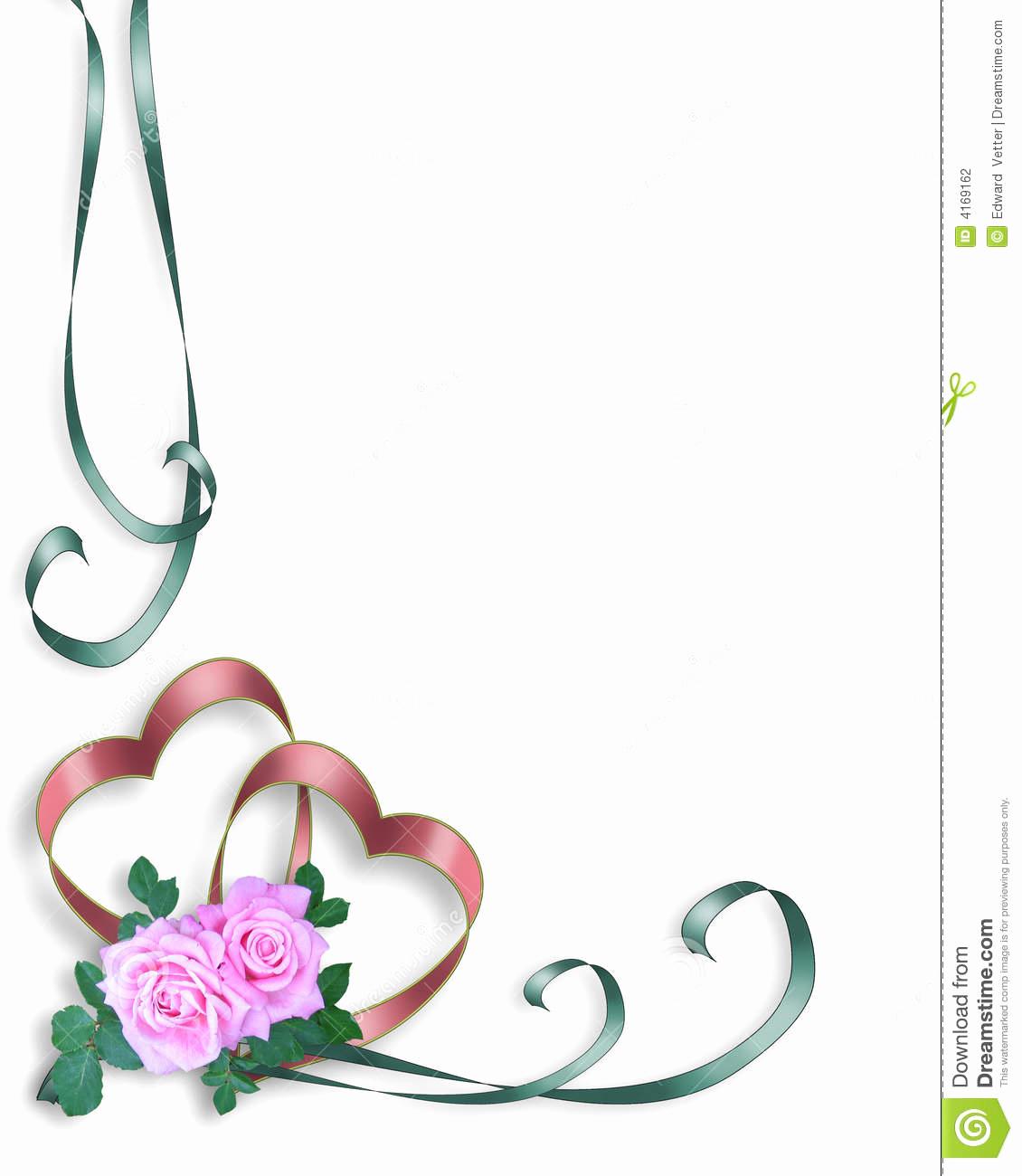 Wedding Invitation Borders Design New Wedding Invitation Border Hearts and Pink Roses Stock