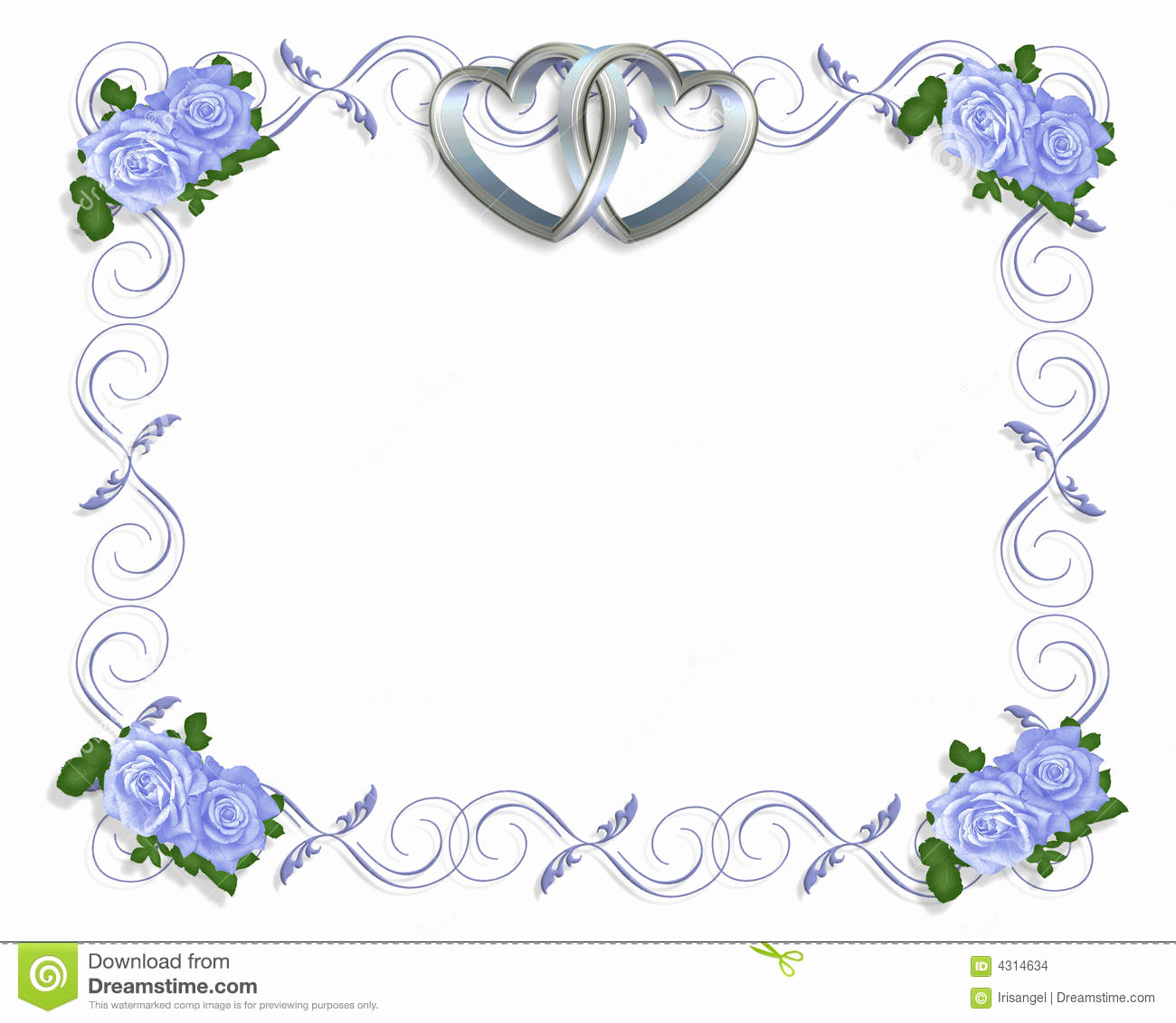 Wedding Invitation Borders Design Unique Wedding Invitation Border Blue Roses Stock Illustration