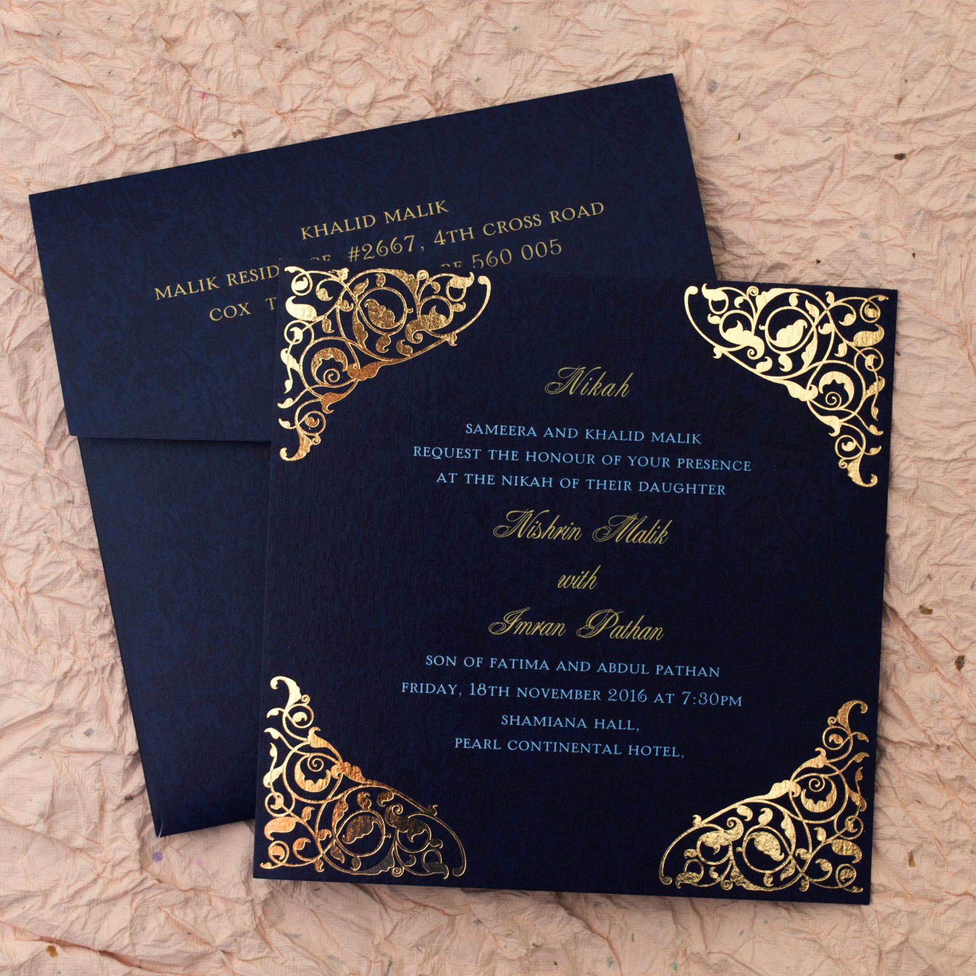 Wedding Invitation Card Ideas Fresh Gulshan Blue Wedding islamic Cards Add A touch Of
