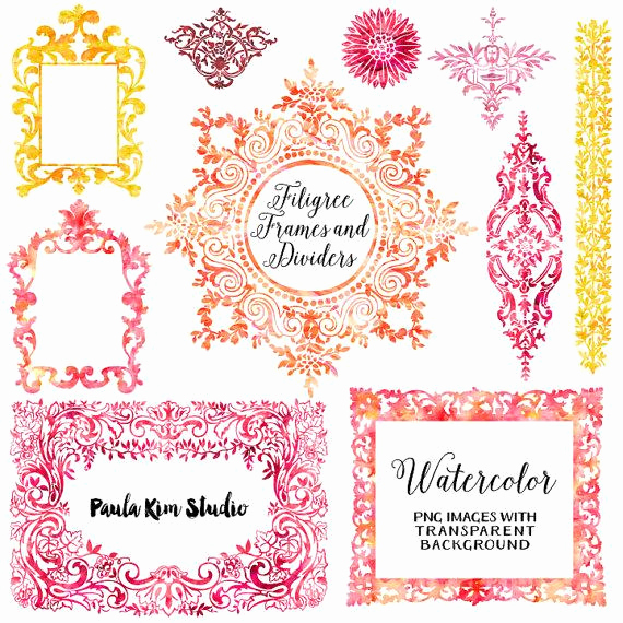 Wedding Invitation Clip Art Beautiful Off Sale Watercolor Clipart Digital Frames Flourish