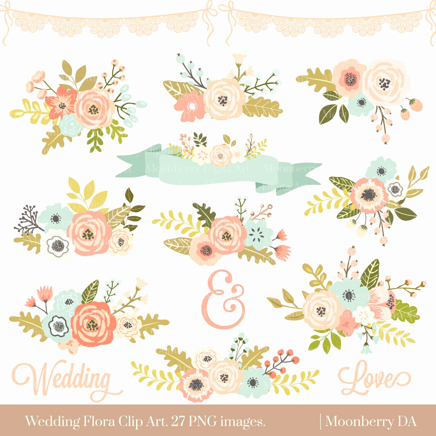 "Wedding Invitation Clip Art Lovely Wedding Floral Clipart "" Floral Clipart "" Flowers Clipart"