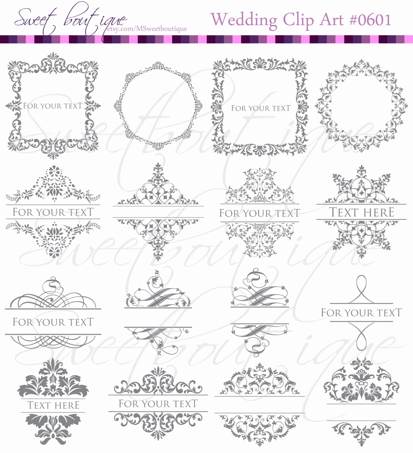 Wedding Invitation Clip Arts Awesome Gray Frames Digital Clipart Diy Engagement Wedding