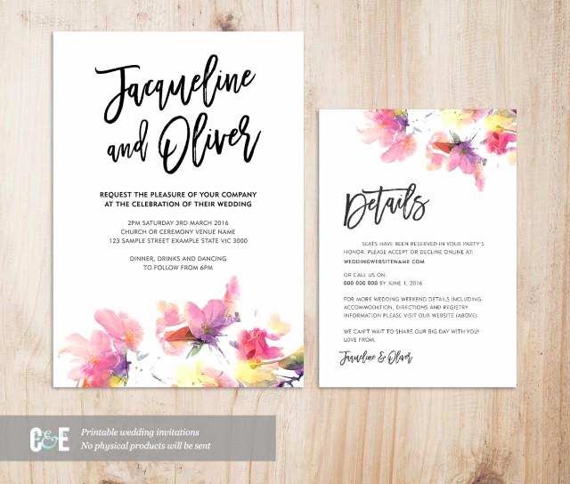 Wedding Invitation Details Card Beautiful Multicolour Watercolor Wedding Invitation Details Card Set