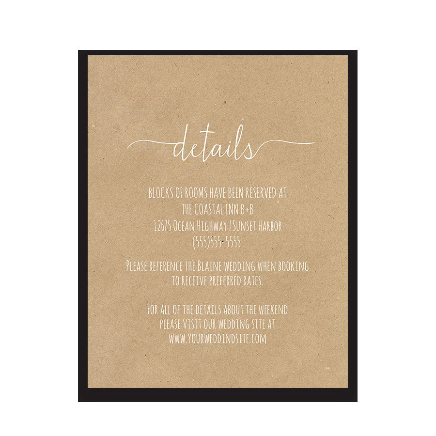 Wedding Invitation Details Card Elegant Fern Wedding Guest Additional Information Insert Card