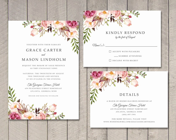 Wedding Invitation Details Card Elegant Floral Wedding Invitation Rsvp Details Card Ca0761 In