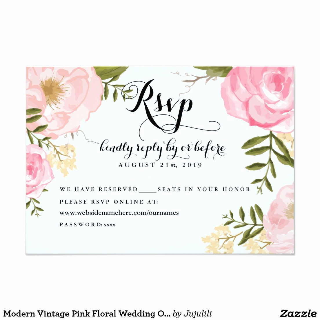 Wedding Invitation Details Card Elegant Modern Vintage Pink Floral Wedding Line Rsvp