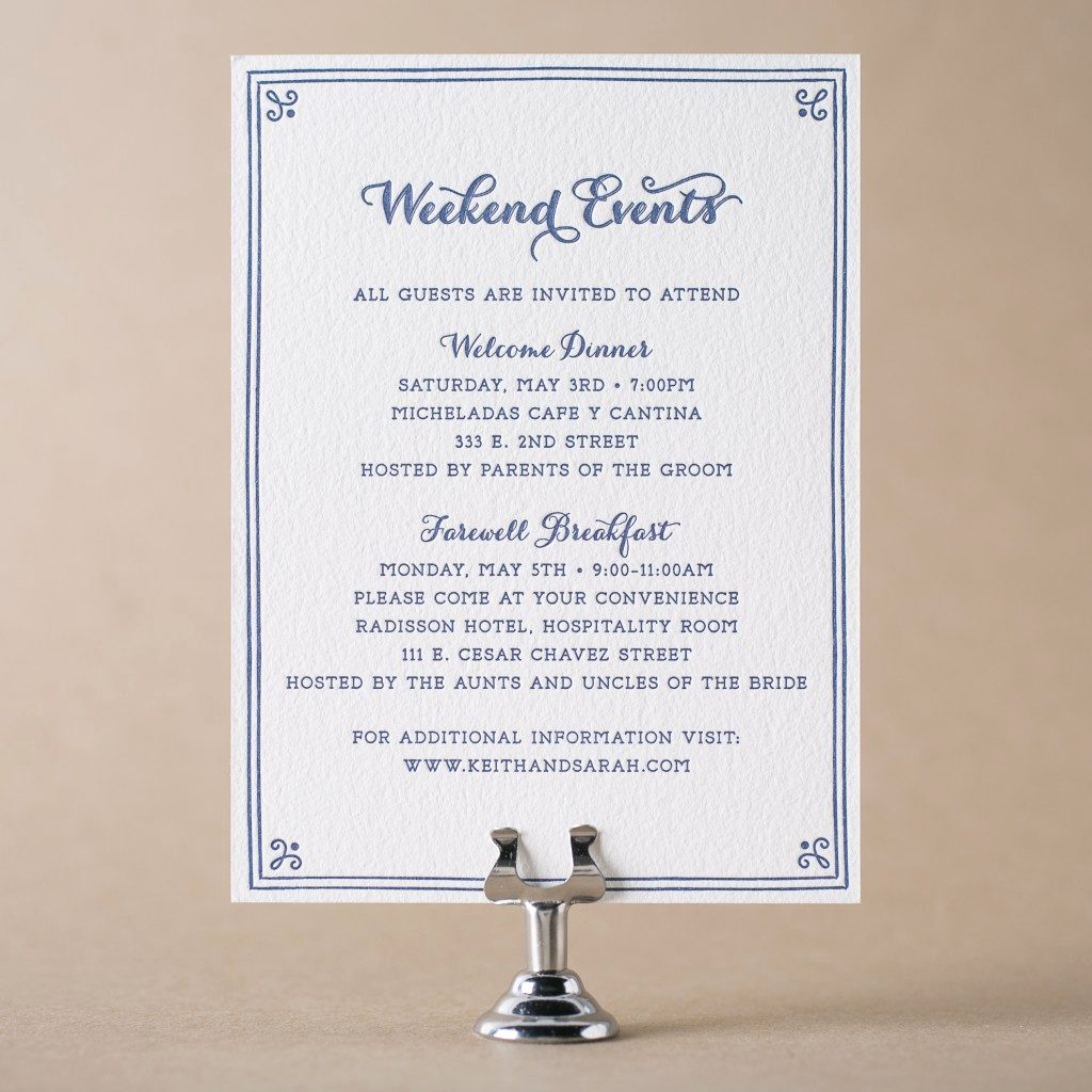 Wedding Invitation Details Card Inspirational Letterpress Wedding events Cards for Wedding Invitations