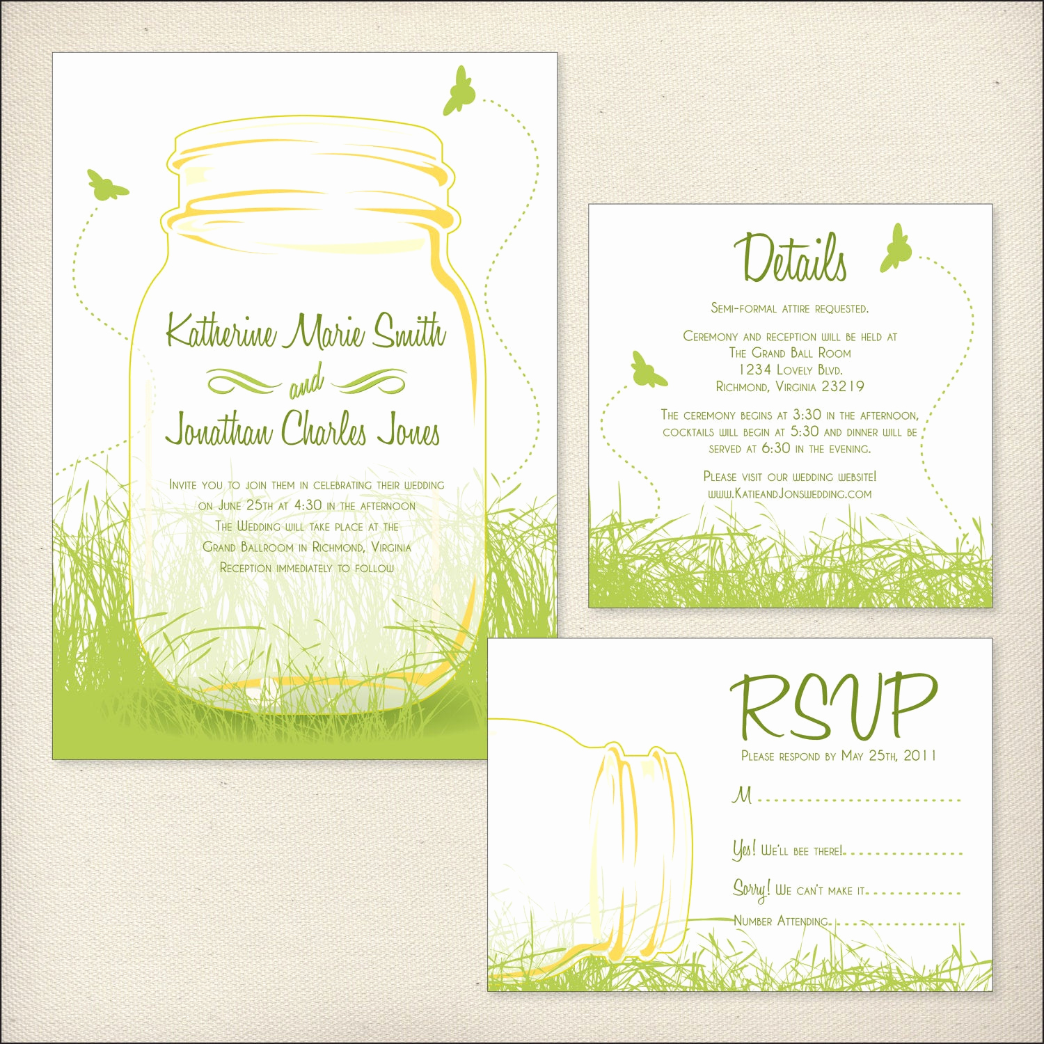 Wedding Invitation Details Card Luxury Mason Jars Wedding Invitation Package