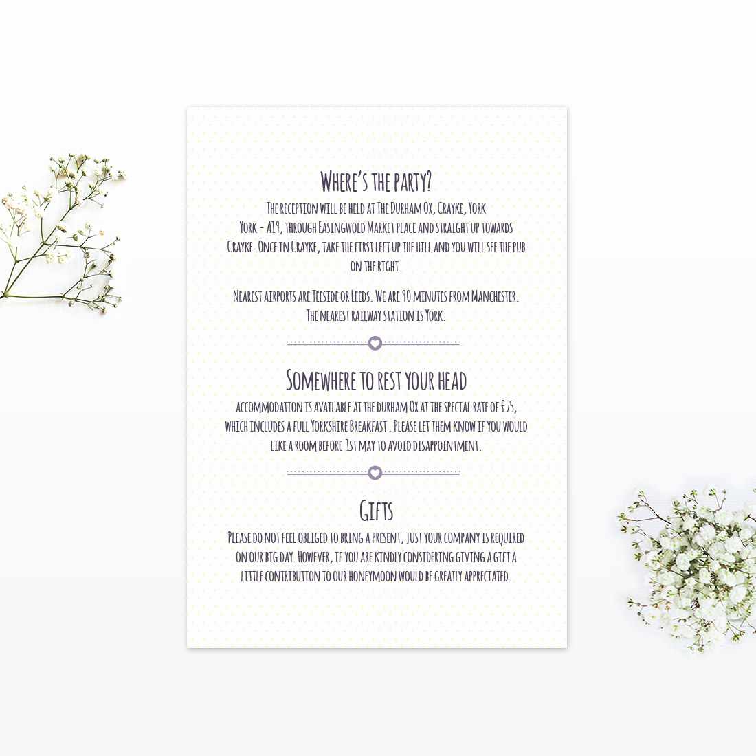 Wedding Invitation Details Card New Country Bunting Additional Information