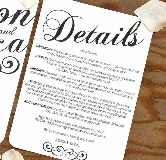 Wedding Invitation Details Card Wording Beautiful Black & White Vintage Stationery … I Do