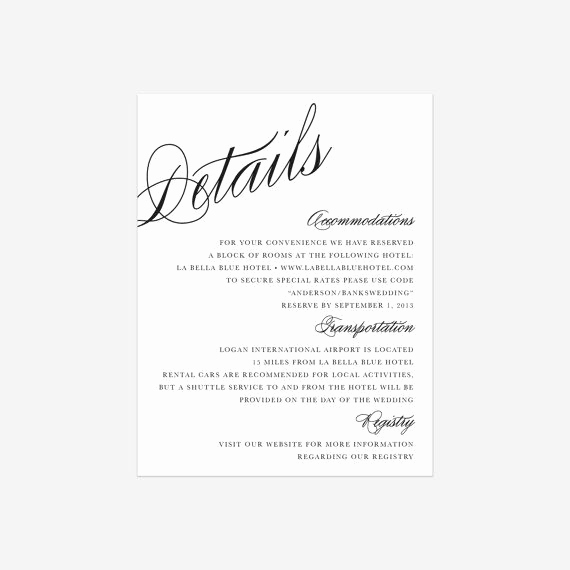 Wedding Invitation Details Card Wording Best Of Calligraphy Details Enclosure Cards by Fineanddandypaperie