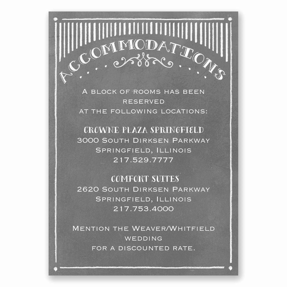 Wedding Invitation Details Card Wording Elegant Chalkboard Sketch Ac Modations Card