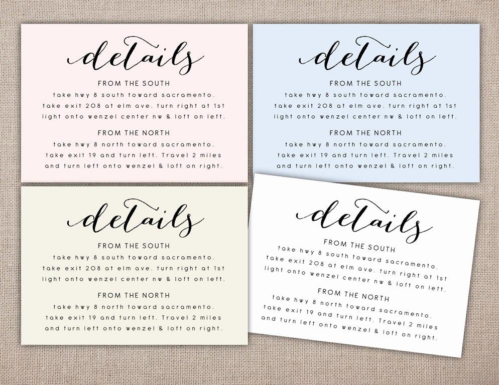 Wedding Invitation Details Card Wording Unique Details Printable Card Wedding Information Printables