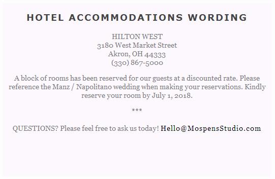 Wedding Invitation Details Card Wording Unique Sample Card for Hotel Room Block Invite