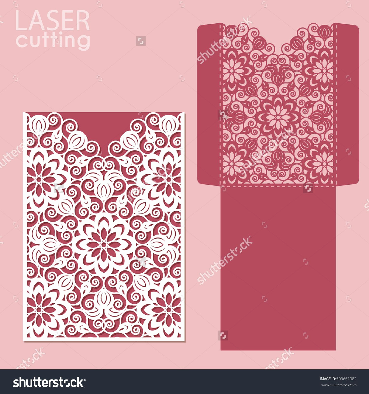 Wedding Invitation Envelope Template Lovely Die Laser Cut Wedding Card Vector Template Invitation