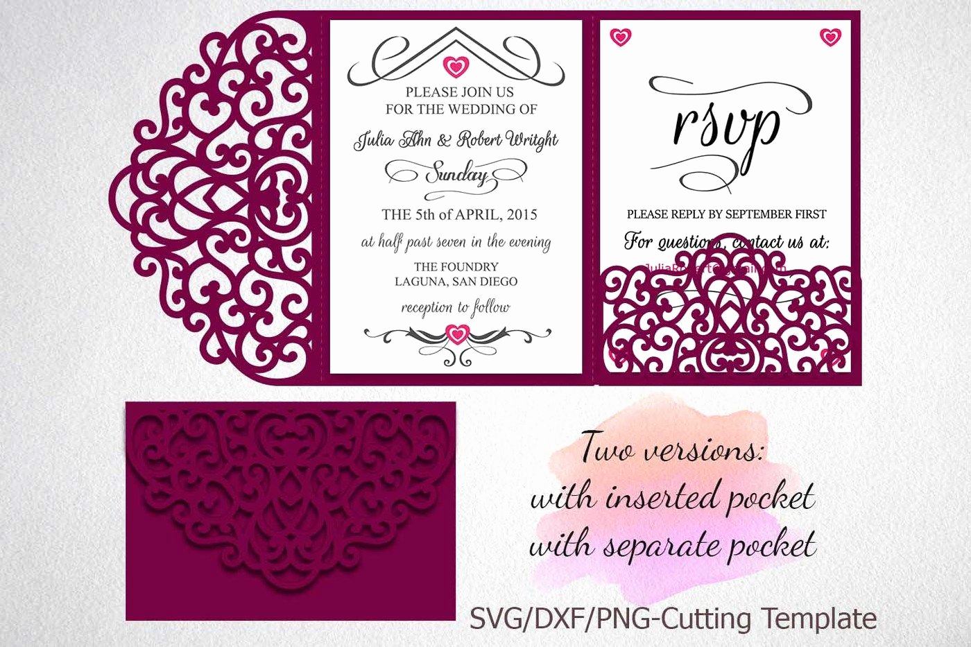 Wedding Invitation Envelope Templates Awesome Tri Fold Wedding Invitation Pocket Envelope Svg Template