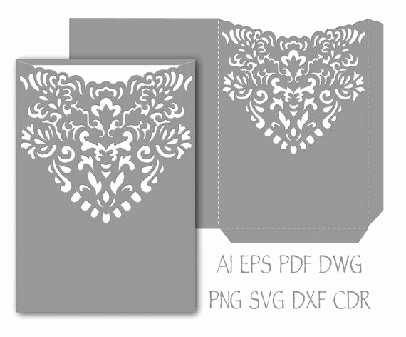 Wedding Invitation Envelope Templates Best Of Wedding Invitation Pocket Envelope 5x7 Template Cutting File