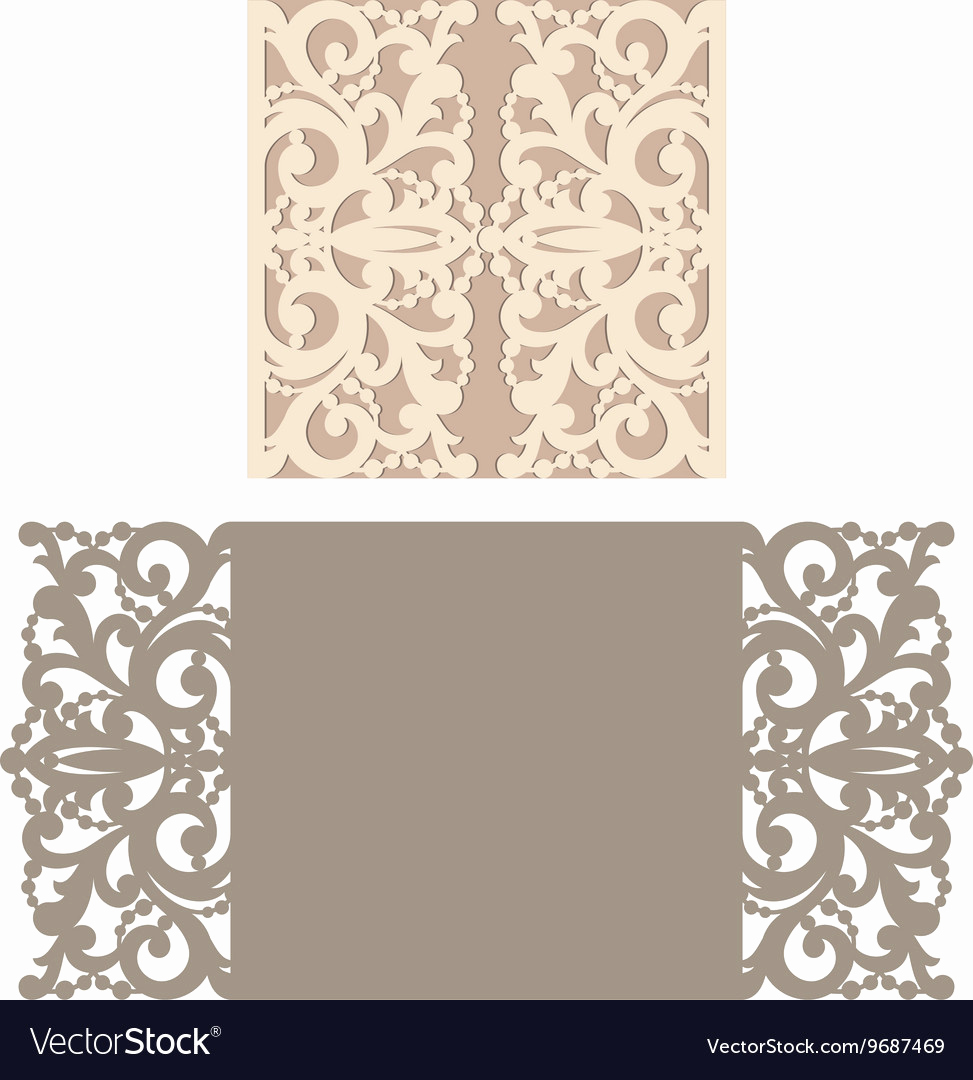 Wedding Invitation Envelope Templates Luxury Laser Cut Envelope Template for Invitation Vector Image